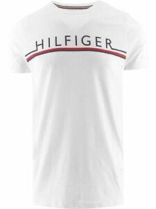 Tommy Hilfiger Men's Core Stripe T-Shirt Cotton White Short Sleeve Crew Neck Top