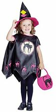 GIRLS TODDLER WITCH CAT PRINT CAPE FANCY DRESS HAT BAG HALLOWEEN COSTUME