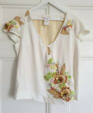 Chloe embroidered silk top.  Made in France FR 36