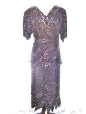 MARK & JOHN II Vintage Black Silk Sequin Dress Set Made in India XL