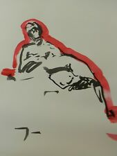 JOSE TRUJILLO - MODERN ABSTRACT EXPRESSIONIST INK WASH RED NUDE MINIMALIST 18X24