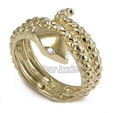 Heavy Men's Ring 14k Gold Natural Diamond Serpent Snake Sizes 7 to 13.75 #R978