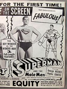 rare 1957 SUPERMAN AND THE MOLE MEN promotional flyer sent to theater owners