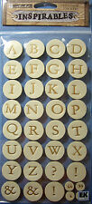 NEW 35 pc LETTERS - METALLIC CREAM Alphabet  INSPIRABLES STICKO Leather Stickers