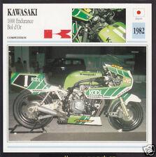 1982 Kawasaki 1000cc Endurance Bol d'Or Japan Race Motorcycle Photo Spec Card