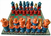 Wooden chess set folding board hand crafted painted vintage game cowries pieces