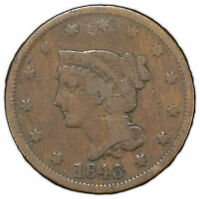 1843 1c Braided Hair Large Cent - Original Fine Coin - SKU-Y1259