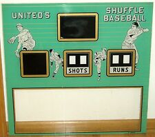 1962 United Shuffle Baseball Skee Alley Arcade Machine Original Backglass - Nice