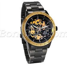 Herrenuhr Herren Edelstahl Automatik Mechanische Armbanduhr Skelett Analog Uhr