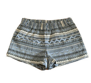 J Crew Shorts Blue Gray Geometric Aztec Stripe Elastic Waist Pockets Sturdy 4