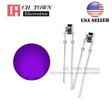 100PCS 3mm Flat Top Water Clear Purple/UV Light Wide Angle 120Deg LED Diodes USA