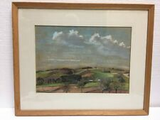 More details for lincolnshire welland landscape in pastel 1977 signed by artist