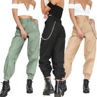 Women High Waist Chain Combat Cargo Harem Pants Leggings Hip-Hops Trousers S-2XL