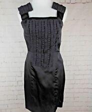 .NWT WALTER Baker 100% SILK Little Black Dress W/Ruffled Front Sz 0 r481