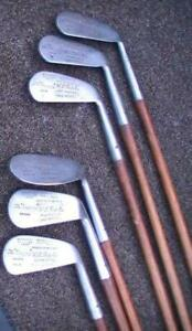 Antique RUSTLESS 6 Club Wood Shaft Iron Set THE UNCANNY GREAT BRITAIN G.FORMAN