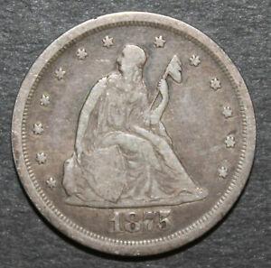 RARE and Nice 1875-S US 20 Cent Piece Grades F+