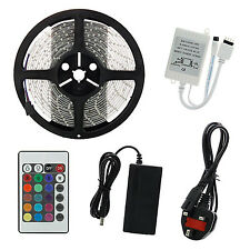 5M SMD 5050 RGB 300 LED Strip Adapter IR 48 keys Remote Receiver Kit UK