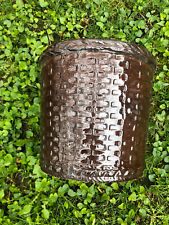VINTAGE ARCHITECTURAL POTTERY Weller? Basket weave Brown POT  Planter Stoneware