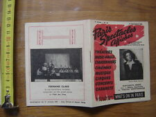 1946 PROGRAMME PARIS SPECTACLES AFFICHES theatres music halls chansonniers