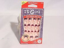 IT GIRL NAILS JUST PRESS AND GO PRE-GLUE 20 NAILS NEW! #D205 #WHITE HEARTS
