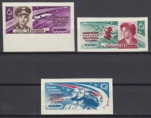 K11 RUSSIA USSR Soviet IMPERF. 1963 CV$5 Mi 2769B-2771B MNH** SPACE