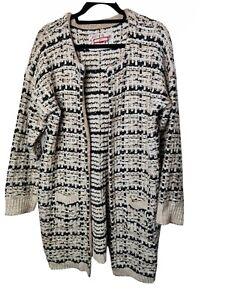JOE BROWNS Chunky Knit Long Cardigan Size 18 Coatigan Coat Pockets Woven