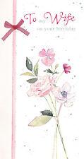 """Femme Carte D'Anniversaire Finition à la Main """" Floral Rose Design """" Taille"""