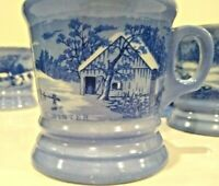 Currier & Ives The Old Homestead blue/white coffee mug cocoa cups tea lot of 4