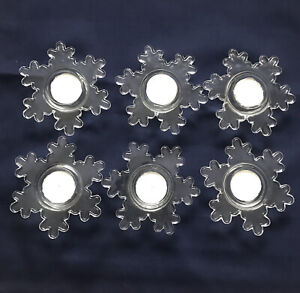 Set Of 6 Crate & Barrel Clear Glass Sculpted SNOWFLAKE TEALIGHT Holder Tabletop