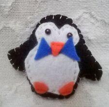 """felt black and white penguin brooch 3""""x 2"""" handmade"""