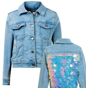 Girls Denim Jacket Kids Sequin Summer Sparkle Soft Jean Coat 3-15 Years