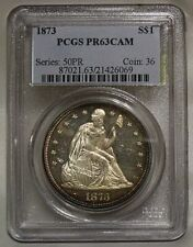 1873 Liberty Seated Dollar $1 No Arrows With Motto PCGS PR 63 Cameo.