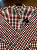 NWT Hugo Boss LS Red White Blue Check Button Front Shirt Mens Size XXL Slim Fit