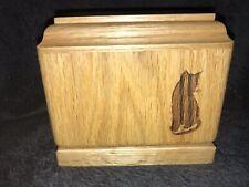 Oak Cat Urn, Laser Engraved With Turned Cat Design