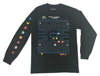 Pacman Men's Long Sleeve T Shirt Retro Arcade Video Game Ghost Sleeve Print