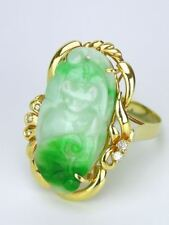 Vintage Chinese 14k yellow gold carved jade and diamond cocktail dress ring