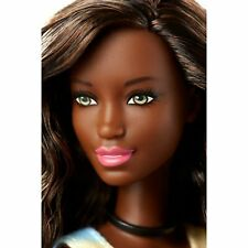 *NUDE DOLL* African American Barbie GREEN EYES CURLY HAIR W// HIGHLIGHTS