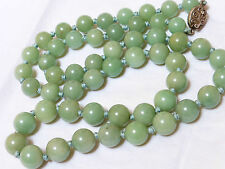 CHINESE VINTAGE JADE BEAD NECKLACE, SILVER  CLASP, 77 GRAMS