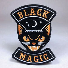 Hallows Eve Halloween Biker Patch: Black Magic -  Black Cat  Witch Ghost Pumpkin