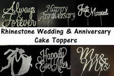 Wedding Diamante Rhinestone Cake Topper Silver Decoration Married Anniversary