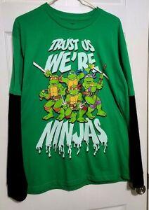 Ninja Turtles, Long sleeved, Boys XL Shirt, Green & Black, Trust Us We're Ninjas