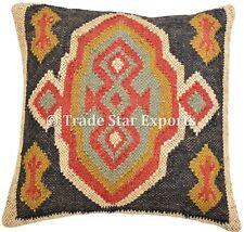 Handmade Kilim Cushion Cover 18X18 Boho Ethnic Jute Shams Vintage Decorative Art