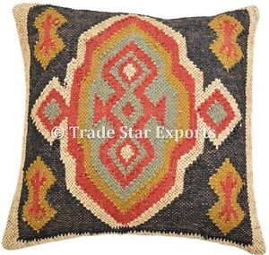 Handmade Kilim Cushion Cover 18X18 Bohemian Jute Square Rug Vintage Pillow Case