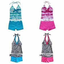 Girls Children Swimming Swimwear Swim Costume Tankini Bathing Suit Age 8-16 BNWT