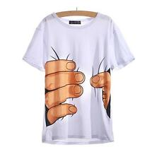 2016 Fun 3D Cool Men Round Neck Short Sleeve Big Hand Printed Cotton T-shirt S