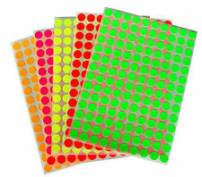 Multicored Neon 10 mm 3/8 inch Color Coding Stickers circular dots 2800 pack