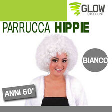 PARRUCCA HIPPIE BIANCA anni 50 60 grease afro hippy ricci neri jimmy party 33619