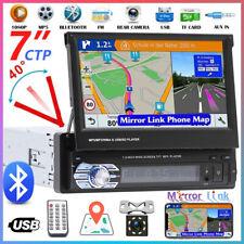 7'' Retractable Car Stereo Radio Bluetooth MP5 Player Single 1 Din AUX/FM Camera
