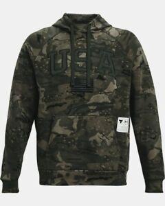 Under Armour Project Rock Veteran's Day Men's Camo Pullover Hoodie Size Medium