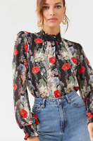 Forever 21 Women's Floral Mock Neck Top NWT